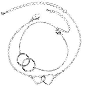 Charm Heart Knot and Round Circle Bracelets